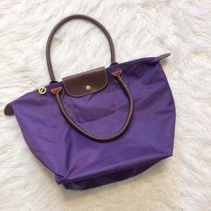 Longchamp Le Plaige eggplant purple medium tote